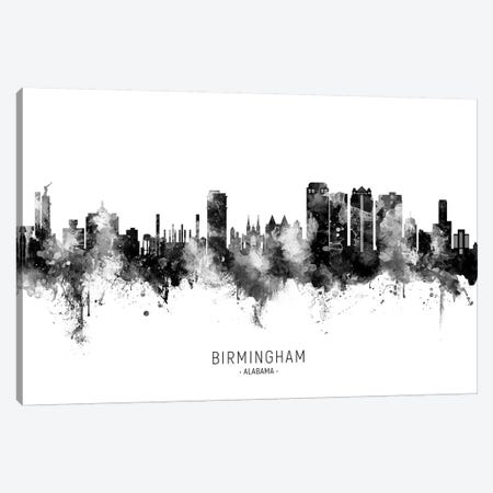 Birmingham Alabama Skyline Name Black & White Canvas Print #MTO2630} by Michael Tompsett Canvas Print