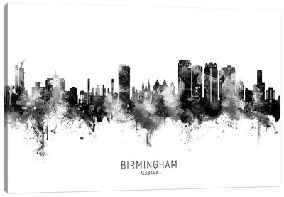 Birmingham Alabama Skyline Name Black & White Canvas Art Print