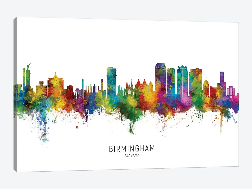 Birmingham Alabama Skyline City Name by Michael Tompsett 1-piece Canvas Art Print