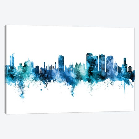 Birmingham Alabama Skyline Blue Teal Canvas Print #MTO2632} by Michael Tompsett Canvas Art Print