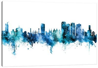 Birmingham Alabama Skyline Blue Teal Canvas Art Print
