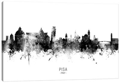 Pisa Italy Skyline Name In Black And White Canvas Art Print