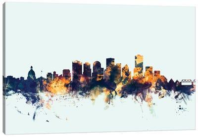 Skyline Series: Edmonton, Canada On Blue Canvas Print #MTO263