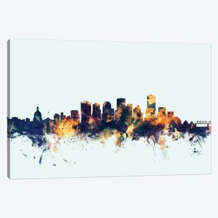 Edmonton, Canada On Blue Canvas Print #MTO263} by Michael Tompsett Canvas Art Print