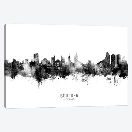 Boulder Colorado Skyline Name In Black And White Canvas Print #MTO2645} by Michael Tompsett Canvas Art Print