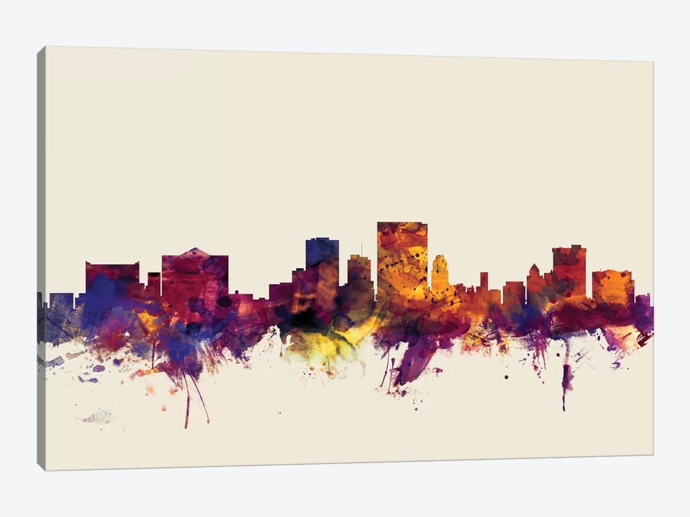Skyline Series: El Paso, Texas, USA On Beige 1-piece Canvas Artwork