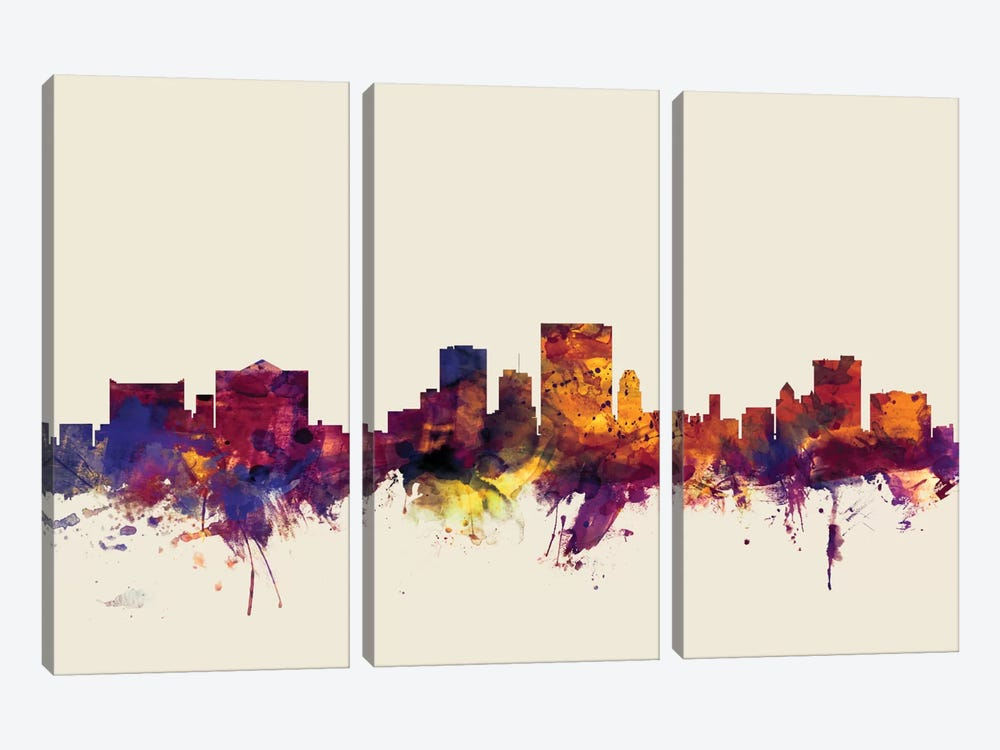 El Paso, Texas, USA On Beige by Michael Tompsett 3-piece Canvas Wall Art