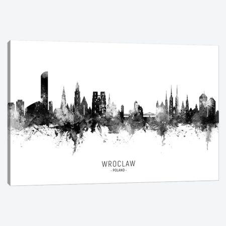 Wroclaw Poland Skyline Name In Black & White Canvas Print #MTO2650} by Michael Tompsett Canvas Art Print