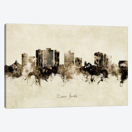 San Mateo California Skyline Vintage Canvas Print #MTO2654} by Michael Tompsett Canvas Art