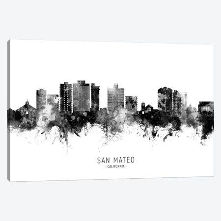 San Mateo California Skyline Name In Black & White Canvas Print #MTO2655} by Michael Tompsett Canvas Artwork