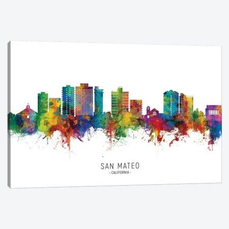 San Mateo California Skyline City Name Canvas Print #MTO2656} by Michael Tompsett Canvas Artwork