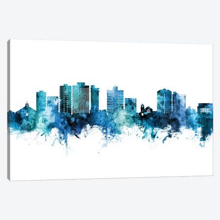 San Mateo California Skyline Blue Teal Canvas Print #MTO2657} by Michael Tompsett Canvas Wall Art