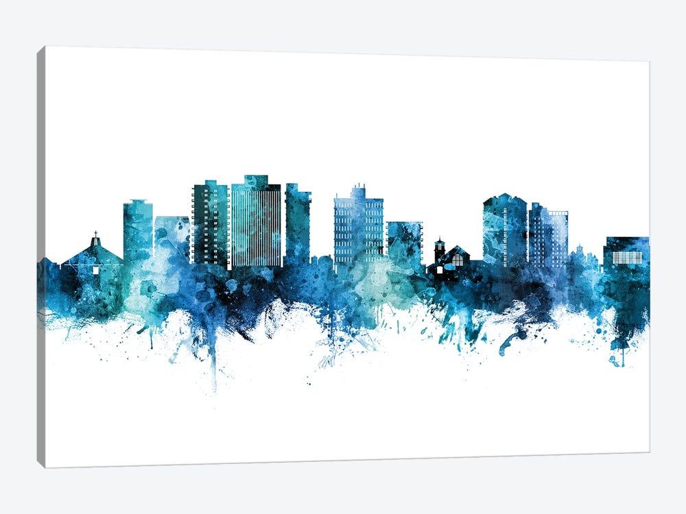 San Mateo California Skyline Blue Teal by Michael Tompsett 1-piece Art Print