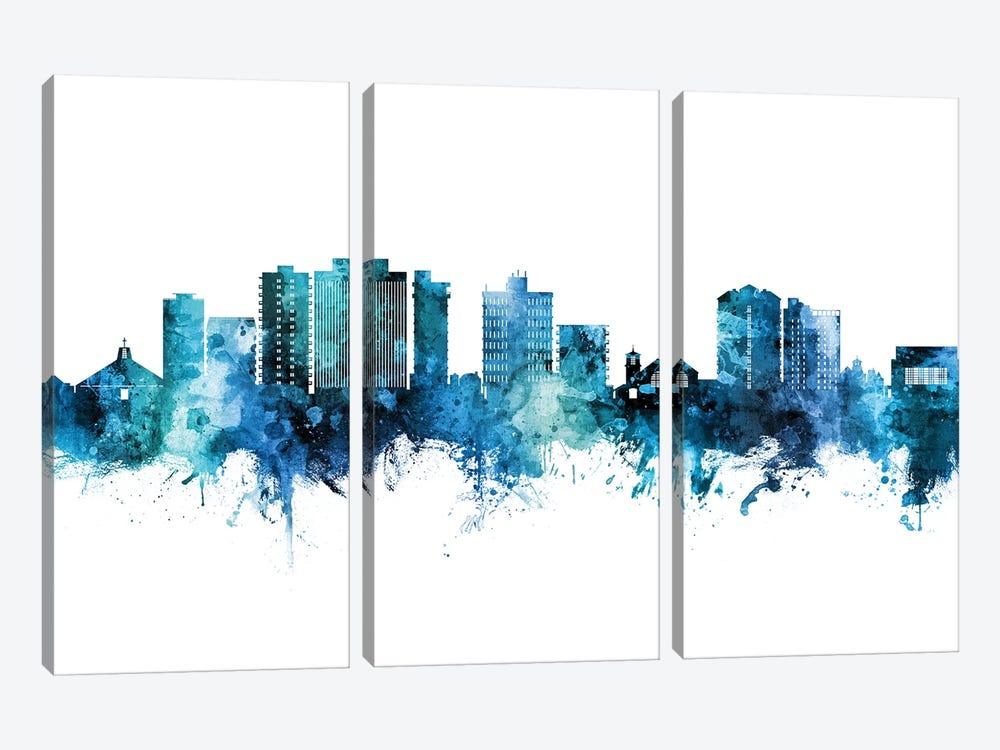 San Mateo California Skyline Blue Teal by Michael Tompsett 3-piece Canvas Art Print