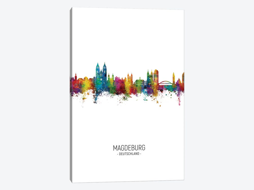 Magdeburg Deutschland Skyline Portrait 1-piece Canvas Art