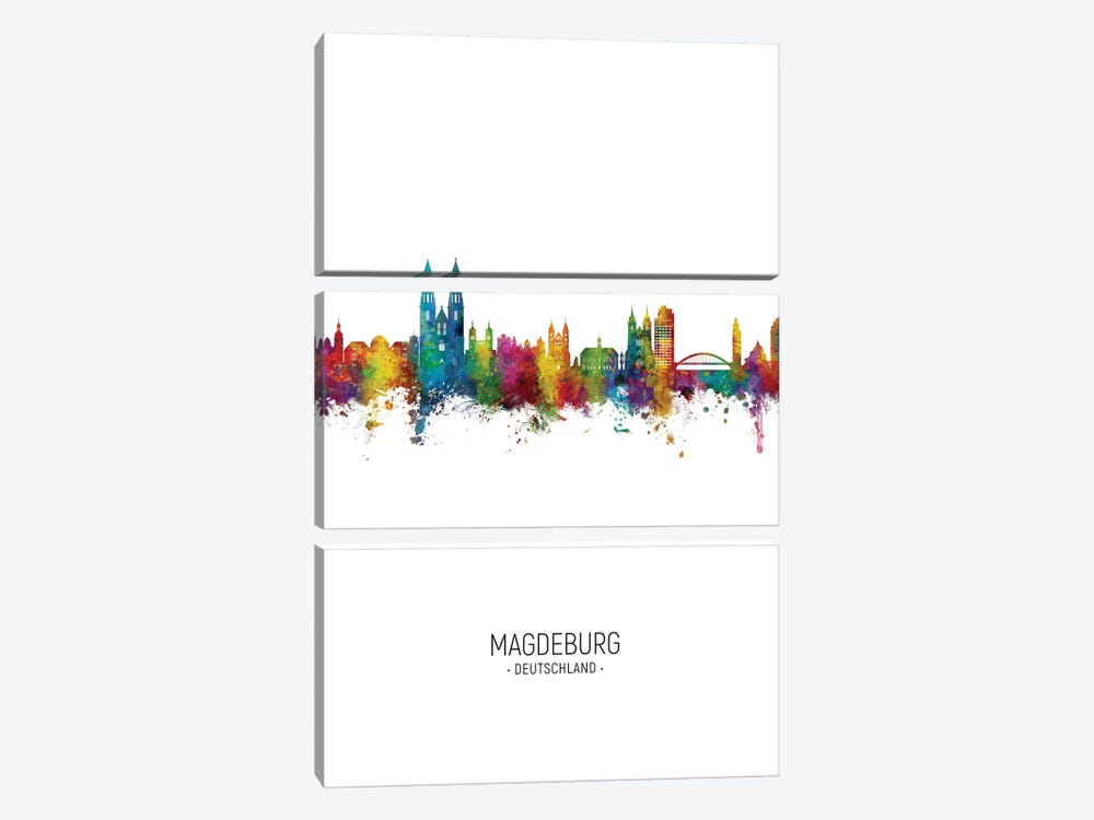 Magdeburg Deutschland Skyline Portrait by Michael Tompsett 3-piece Canvas Artwork