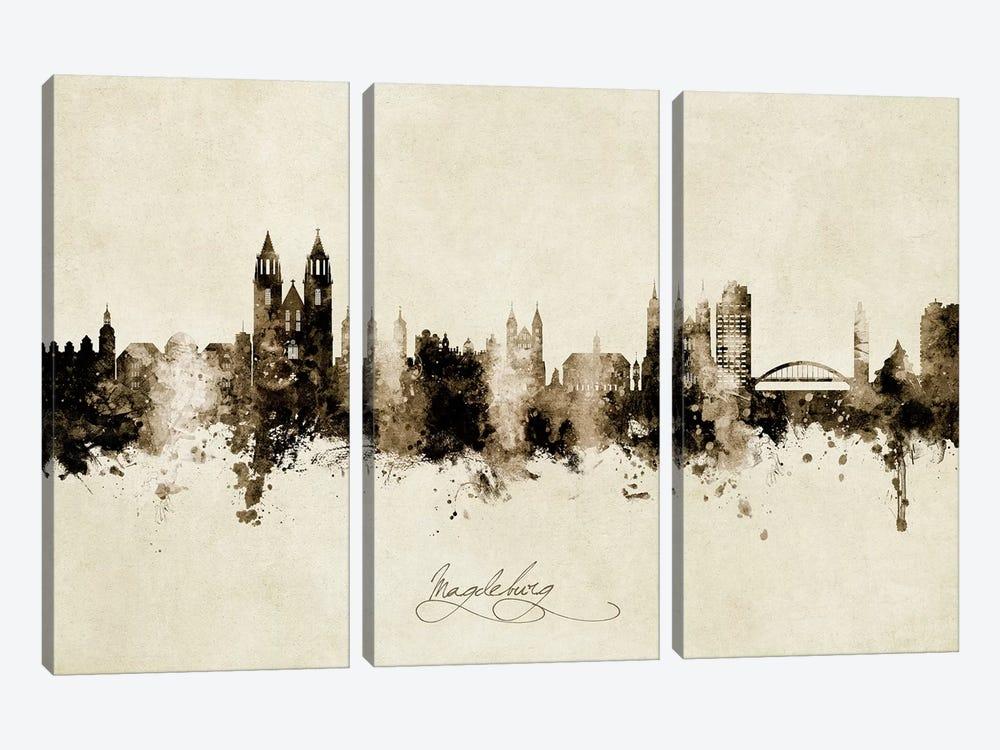 Magdeburg Deutschland Skyline Vintage by Michael Tompsett 3-piece Canvas Art Print