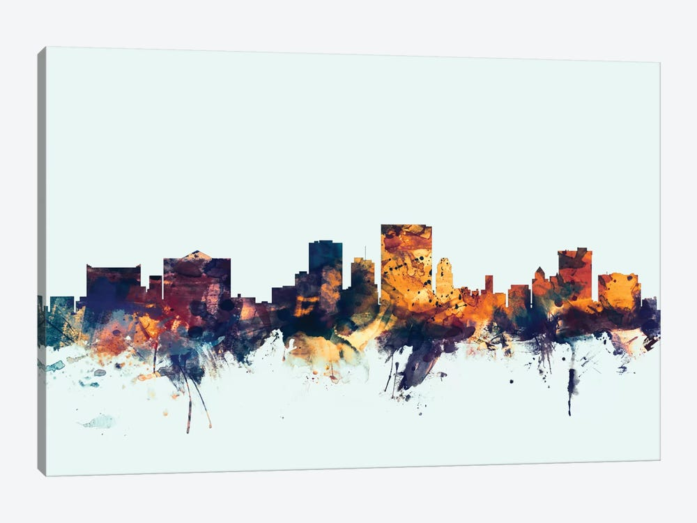 Skyline Series: El Paso, Texas, USA On Blue by Michael Tompsett 1-piece Canvas Print