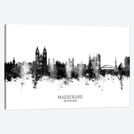Magdeburg Deutschland Skyline Name In Black & White Canvas Print #MTO2660} by Michael Tompsett Canvas Artwork