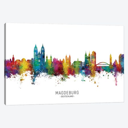 Magdeburg Deutschland Skyline City Name Canvas Print #MTO2661} by Michael Tompsett Canvas Art