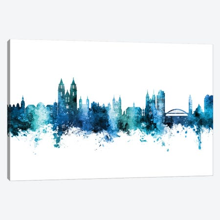 Magdeburg Deutschland Skyline Blue Teal Canvas Print #MTO2662} by Michael Tompsett Canvas Wall Art