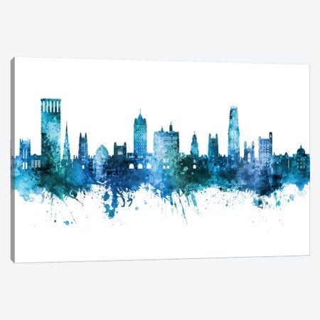 New Haven Connecticut Skyline Blue Teal Canvas Print #MTO2664} by Michael Tompsett Canvas Art Print