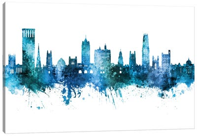 New Haven Connecticut Skyline Blue Teal Canvas Art Print