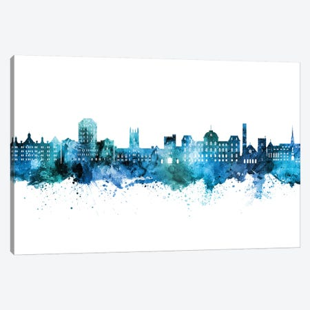 Vassar Poughkeepsie New York Skyline Blue Teal Canvas Print #MTO2665} by Michael Tompsett Canvas Print
