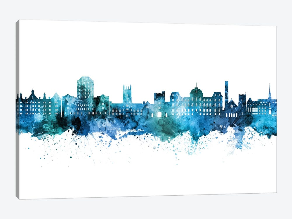 Vassar Poughkeepsie New York Skyline Blue Teal by Michael Tompsett 1-piece Canvas Artwork