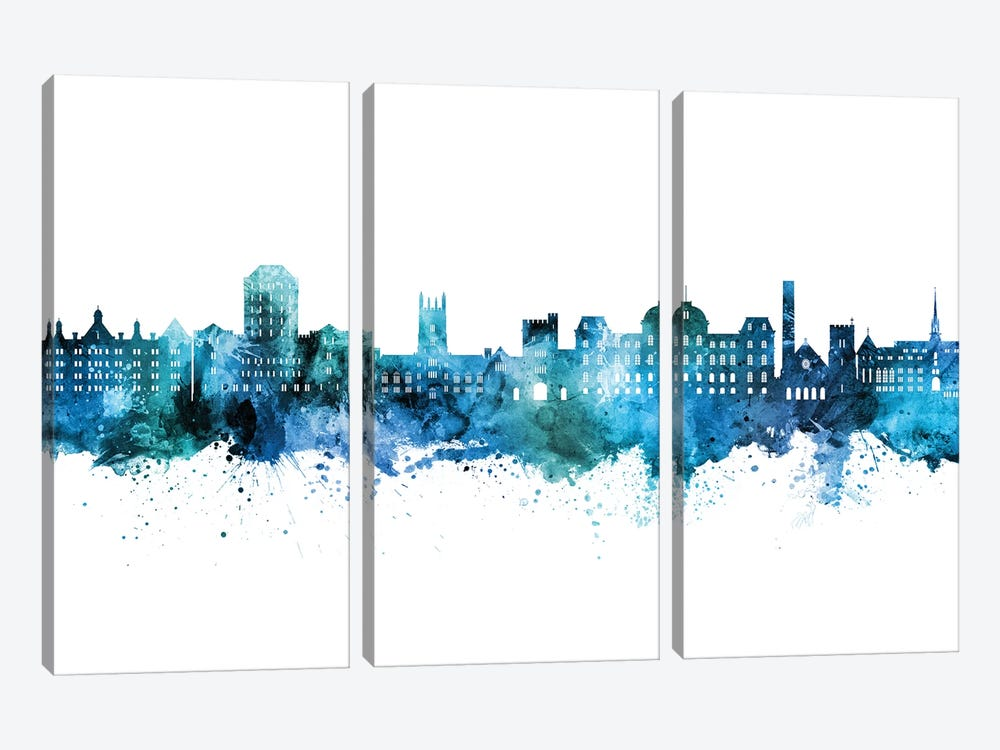 Vassar Poughkeepsie New York Skyline Blue Teal by Michael Tompsett 3-piece Canvas Artwork