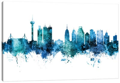 San Antonio Texas Skyline Blue Teal II Canvas Art Print
