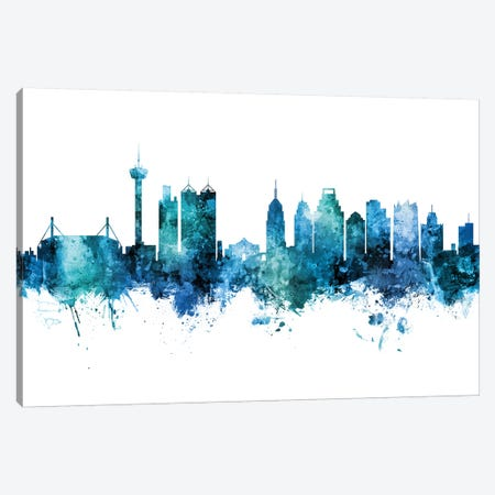 San Antonio Texas Skyline Blue Teal II Canvas Print #MTO2666} by Michael Tompsett Art Print