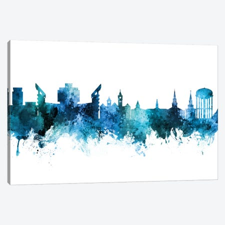 Auburn Alabama Skyline Blue Teal Canvas Print #MTO2667} by Michael Tompsett Canvas Art Print