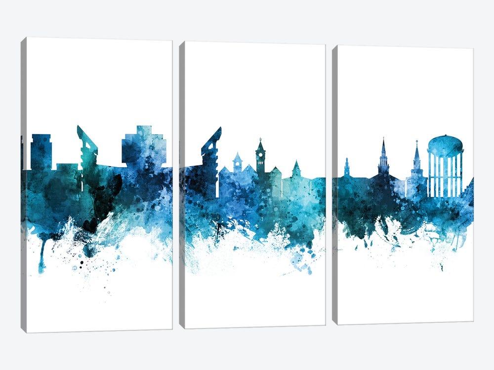 Auburn Alabama Skyline Blue Teal by Michael Tompsett 3-piece Canvas Art