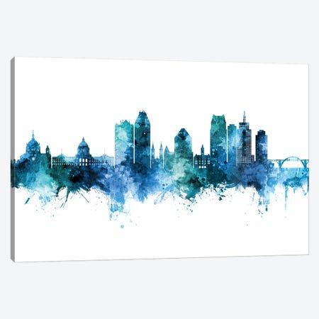 Saint Paul Minnesota Skyline Blue Teal Canvas Print #MTO2668} by Michael Tompsett Canvas Artwork