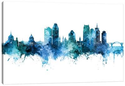 Saint Paul Minnesota Skyline Blue Teal Canvas Art Print