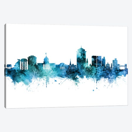 Montgomery Alabama Skyline Blue Teal Canvas Print #MTO2669} by Michael Tompsett Canvas Art
