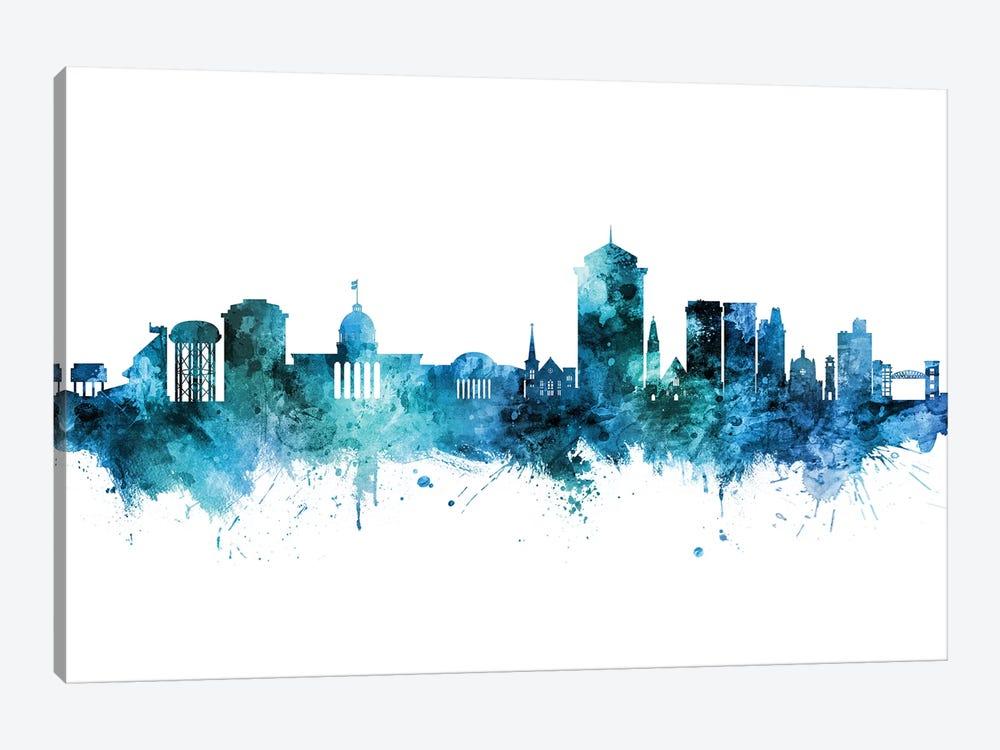 Montgomery Alabama Skyline Blue Teal by Michael Tompsett 1-piece Canvas Art