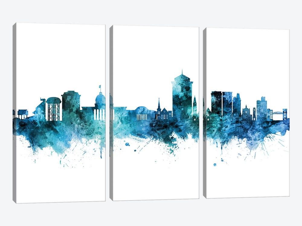 Montgomery Alabama Skyline Blue Teal by Michael Tompsett 3-piece Canvas Artwork