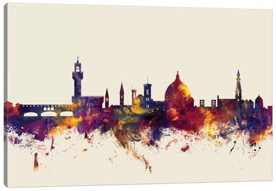 Skyline Series: Florence, Italy On Beige Canvas Print #MTO266