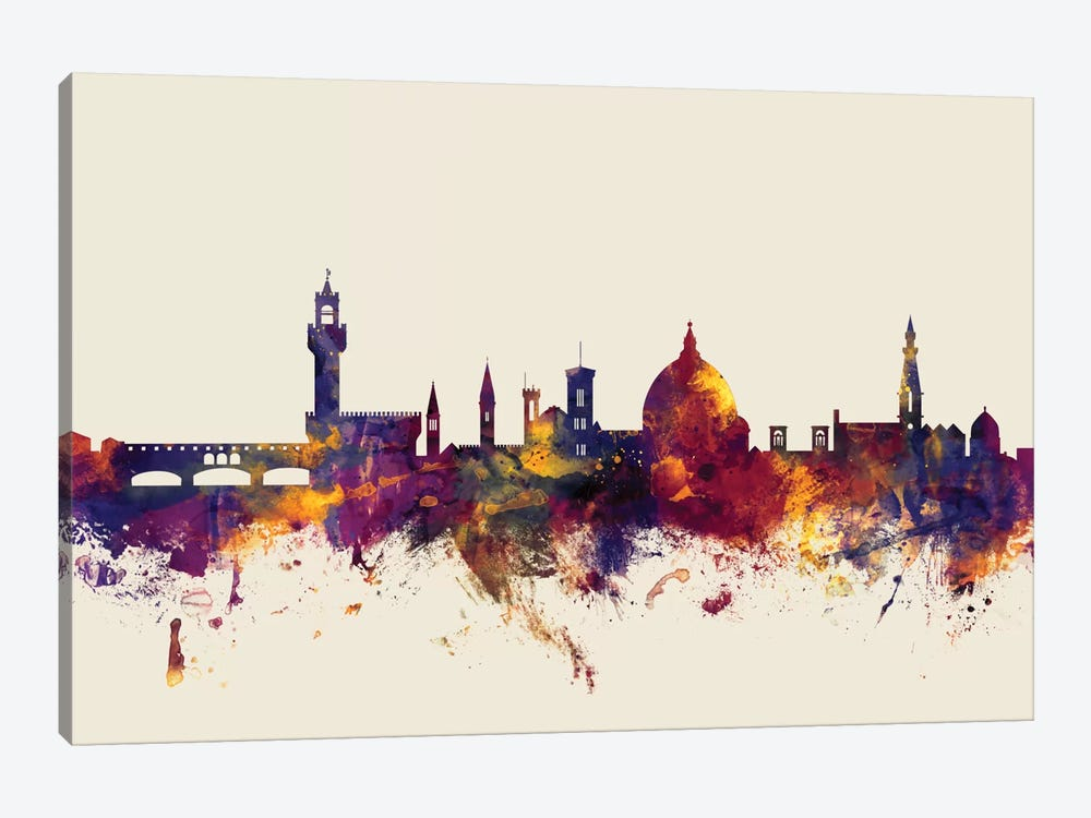 Florence, Italy On Beige by Michael Tompsett 1-piece Canvas Art