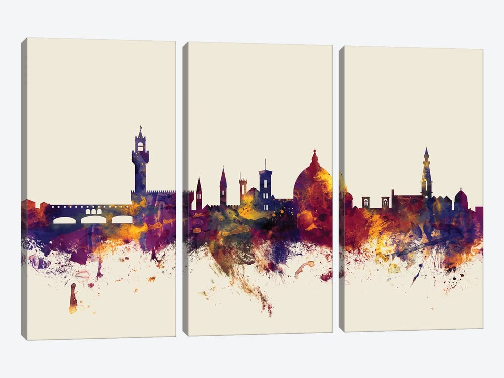 Florence, Italy On Beige by Michael Tompsett 3-piece Canvas Art
