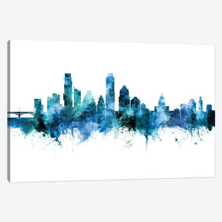 Austin Texas Skyline Blue Teal II Canvas Print #MTO2670} by Michael Tompsett Art Print