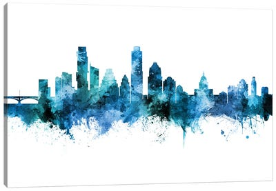 Austin Texas Skyline Blue Teal II Canvas Art Print