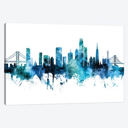 San Francisco Skyline Blue Teal Iii Canvas Print #MTO2672} by Michael Tompsett Canvas Art Print
