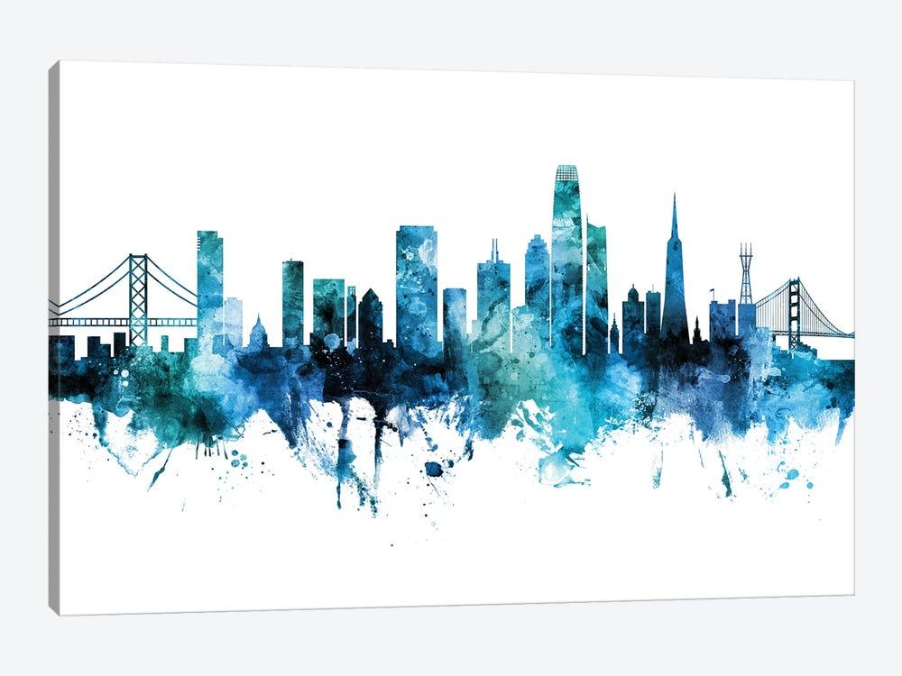 San Francisco Skyline Blue Teal Iii by Michael Tompsett 1-piece Canvas Wall Art