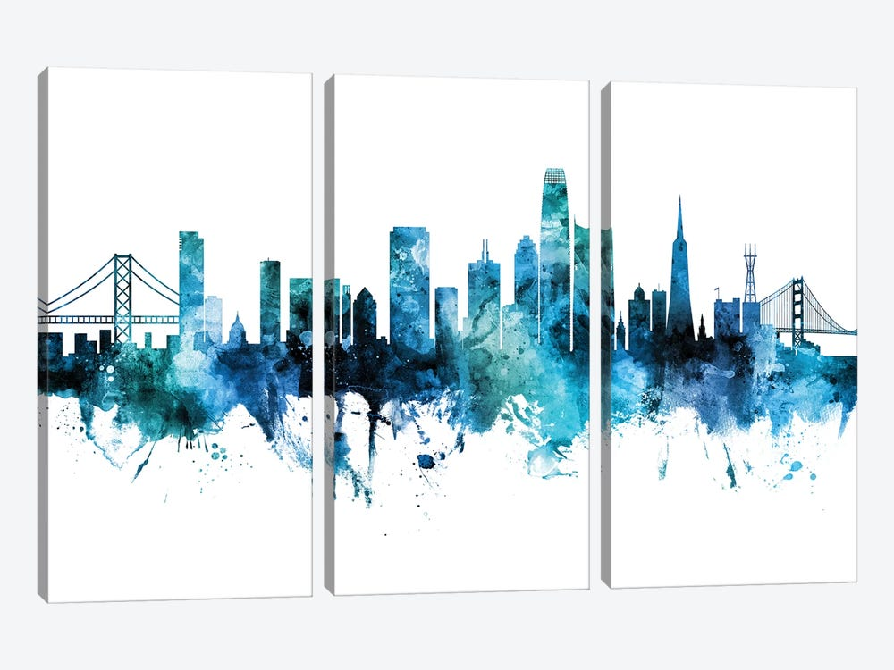 San Francisco Skyline Blue Teal Iii by Michael Tompsett 3-piece Canvas Artwork