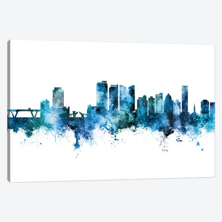 Fort Lauderdale Skyline Blue Teal Canvas Print #MTO2673} by Michael Tompsett Canvas Art Print