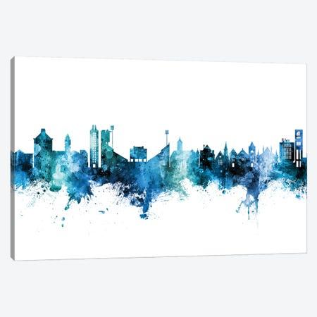 Lawrence Kansas Skyline Blue Teal Canvas Print #MTO2674} by Michael Tompsett Canvas Art