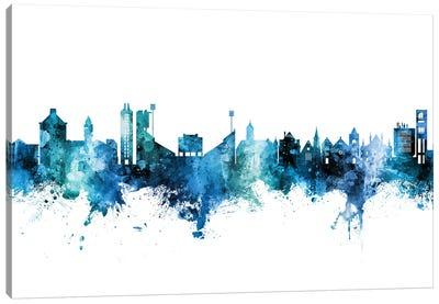 Lawrence Kansas Skyline Blue Teal Canvas Art Print
